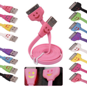 LED Light Smile Face USB Cable for iPhone 4