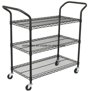 Commercial 3 Tier Layer Shelf Adjustable Wire Metal Shelving Rack Trolley Cart pictures & photos