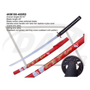 "40.55""Overall Wood Handle Katana with Carbon Steel Polished Blade: 4km100-405rd pictures & photos"