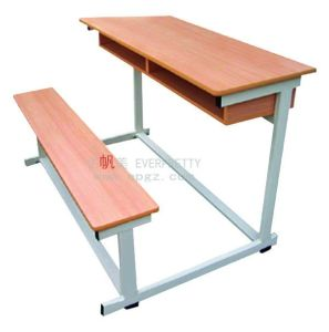 New Design and Cheap School Furniture Classroom Double Desk with Bench Attached pictures & photos