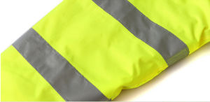Fluorescent Yellow Fleece Windproof Warm Thick Reflective Traffic Patrol Duty Rain Coat pictures & photos