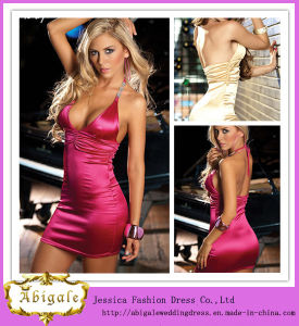 2013 Short Halter Backless Sheath Corset Satin Sexy Nude Cocktail Dress (SR14) pictures & photos