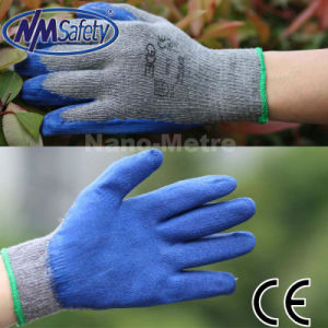 Nmsafety Iran Hot Sale Cheap Blue Latex Coated Safety Glove pictures & photos