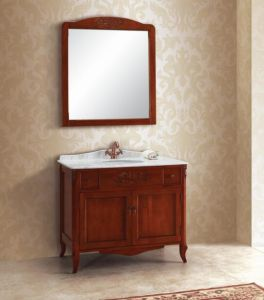 Light Cherry Carving Bathroom Vanity