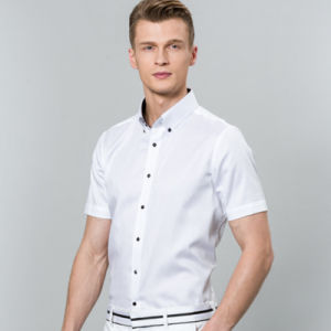 Plain White Trendy Fit High Quality Dress/Office Long Sleeve Shirt for Men Square Collar pictures & photos