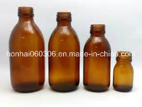 125ml Boston Round Amber Glass Syrup Bottle with DIN Screw Finish PP 28mm pictures & photos