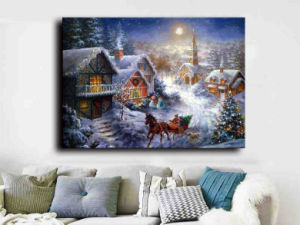 Wholesale 2016 Latest LED Light Oil Paintings on Canvas Beautiful Christmas pictures & photos