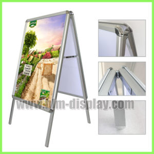 Double Side Portable Aluminum Outdoor Advertising Trade Show Exhibition Fabric Pop Pull up Banner Display Stand Background a Board Frame Graphic Pavement Signs