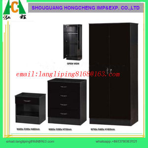 Black Gloss & Walnut 4 Piece Trio Bedroom Set/Wardrobe /Chest of Drawers pictures & photos