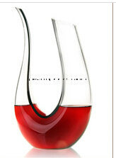 U Shape High Quality Hand Made Glass Wine Bottle (XJQ-08) pictures & photos