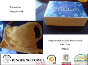 Cotton Promotional Compressed Beach Backpack Towel with Bag pictures & photos