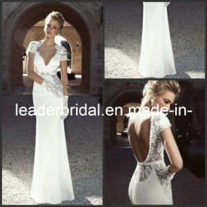 Cap Sleeves Backless Lace Sheath Wedding Dresses Sheath Beach Bridal Evening Gowns W1412 pictures & photos