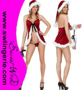 Velvet Santa Babydoll & Cuffs Set T1384