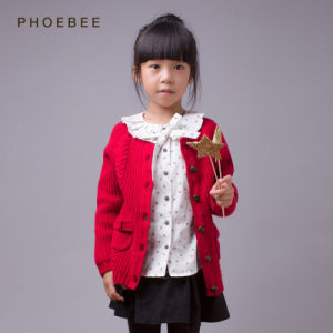 Phoebee 100% Wool Children Apparel Girl Winter Knitted Cardigan pictures & photos