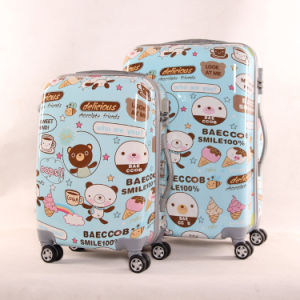 Cartoon Printed Hard Luggage Suitcase 3 Pieces PC + ABS Trolley Bag pictures & photos