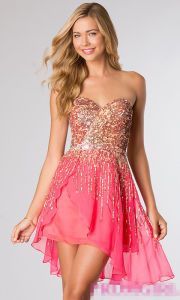 Short Strapless Sequin Formal Prom Dresses (PD14011) pictures & photos
