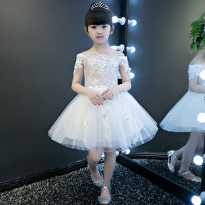 Ivory Flower Short Sleeve Girl Gowns pictures & photos