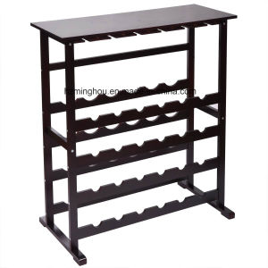 Wholesale Freestanding Solid Wood Wine Storage Rack with Glass Display pictures & photos