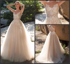 Champagne Bridal Formal Gown A-Line Sleeveless Appliqued Lace Wedding Dresses We15 pictures & photos