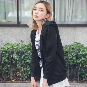 OEM Guangzhou Wholesale Fahionable Women Cotton Zipper Hoodie Windbreaker Coat Sweatshirt Sweater with Customized pictures & photos