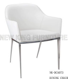 Luxury Simple White Leather Stackable Stainless Steel Dining Chair (NK-DCA073)