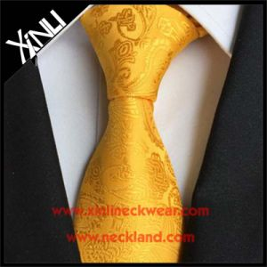 100% Silk Jacquard Woven Fashion Gold Paisley Tie for Men pictures & photos