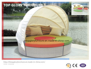 Outdoor Patio Rattan Wicker Round Shape Sun Bed (TGLU-13) pictures & photos