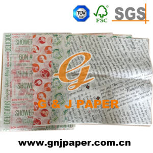 240*340mm Size 30-50GSM Printed Burger Paper for Sale pictures & photos