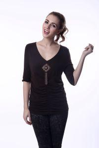 Ladies Brown Blouse Image Elastic Waist Latest Fashion Blouse Design pictures & photos