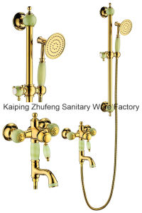New Design Single Handle Zf-705 Jade Brass Shower Set pictures & photos