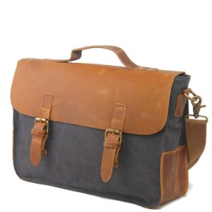 Genuine Leather Canvas Compture Bag Laptop Handbags (RS-2016) pictures & photos