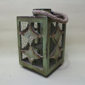 Vintage Light Green Square Corners of Classical Star Garden Lantern