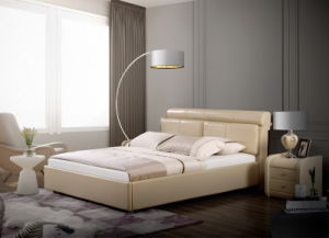 Shunde Home Furniture King Size Nice Leather Double Soft Bed pictures & photos