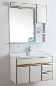 PVC Bathroom Furniture Wall-Mounted Ceramic Basin Cabinet Wds912 pictures & photos