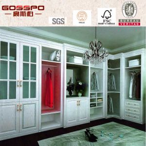 White Paint Bedroom Wardrobe with Louvered Glass Door (GSP9-013) pictures & photos