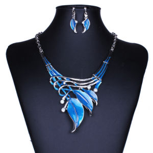Fashion Vintage Leaves Diamond Statement Choker Necklace Earring Set Jewelry pictures & photos