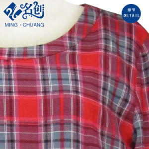 Newstyle Red Rayon Plaid Long Sleeve Round Collar Soft Dress pictures & photos