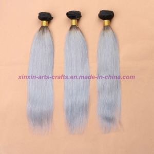 8A Silver Grey Ombre Human Hair Extensions Grey Straight Hair Two Tone Ombre Virgin Grey Brazilian Hair Weft pictures & photos