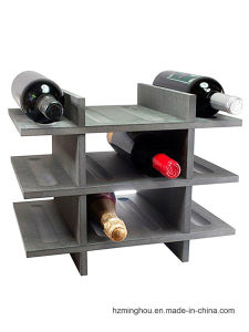 12 Bottles Simple Design Wooden Wine Display Rack pictures & photos
