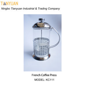 Classic 350ml / 3-Cup Stainless Steel Glass Cafetiere French Filter Coffee Press Plunger