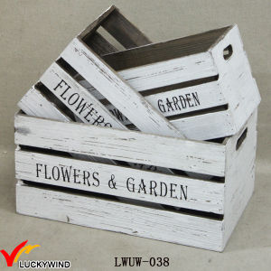 Crate Style Box Antique White Wood Planters pictures & photos