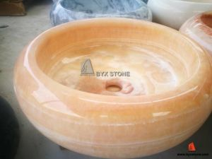 Beautiful Beige Onyx Bowl Sinks Stone Wash Basin for Bathroom pictures & photos