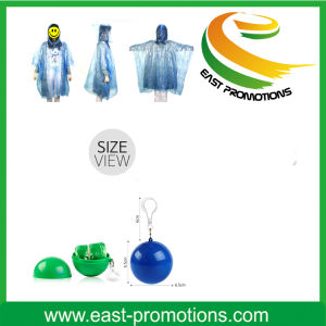 Raincoat Poncho in Ball with Keychain for Promotion pictures & photos