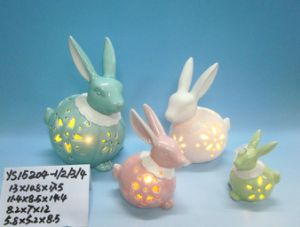 Color-Changing LED Lighted Ceramic Rabbit for Easter Decoration pictures & photos