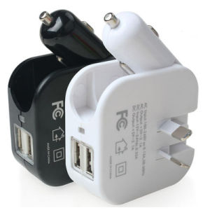 2 in 1 Dual USB Port Car Charger Home Wall Charger with Foldable Au Plug pictures & photos