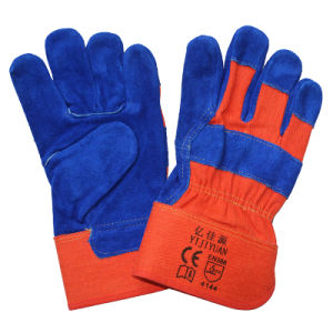 Blue Leather Safety Hand Protective Work Gloves with Ce En388 pictures & photos