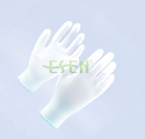 Esen White Polyester Coated PU Palm Fit Hand Work Glove pictures & photos