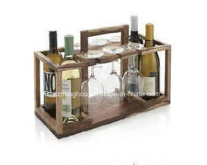 Furniture 4 Bottle Wooden Wine Shelf with Wine Glass Holder pictures & photos