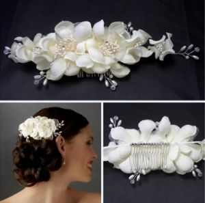 New Style Wholesale Price Handmade White Flower Hairpins Bridal Headpieces pictures & photos