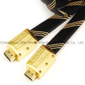 Metal Assembly Flat HDMI 19pin Plug-Plug Cable pictures & photos